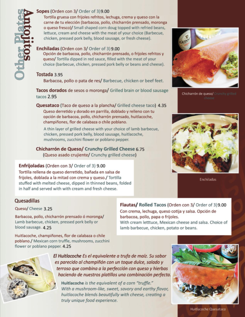 Food Menu Aqui Es Texcoco
