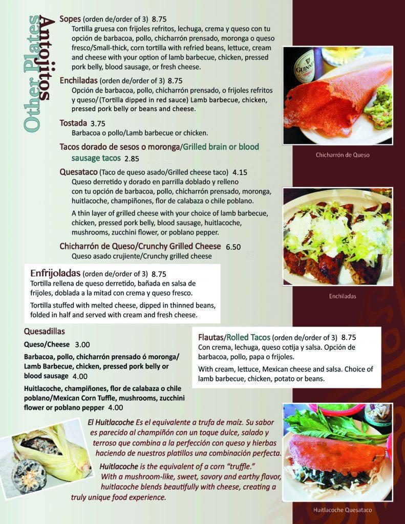 food menu aqui es texcoco